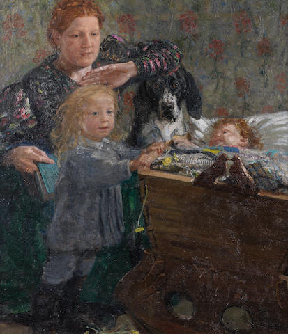 Yuri Il'ich Repin (1877-1954) Portrait of a mother and her children in the nursery