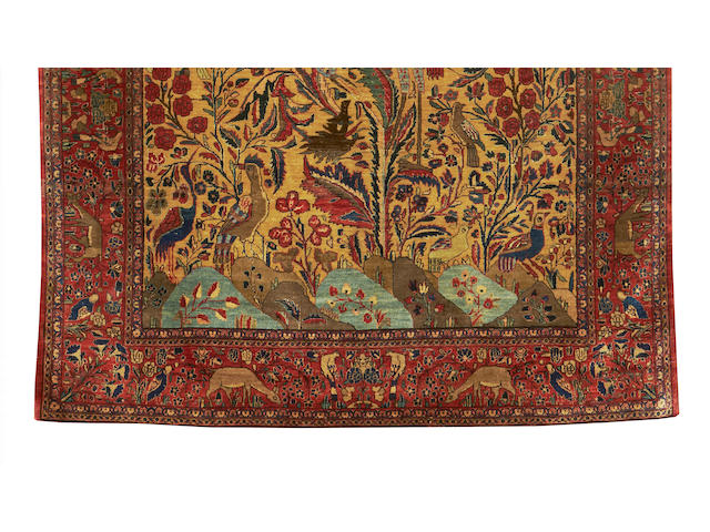 A silk Kashan prayer rug, Central Persia, circa 1890, 6 ft 6 in x 4 ft 1 in (198 x 125 cm) very minor wear