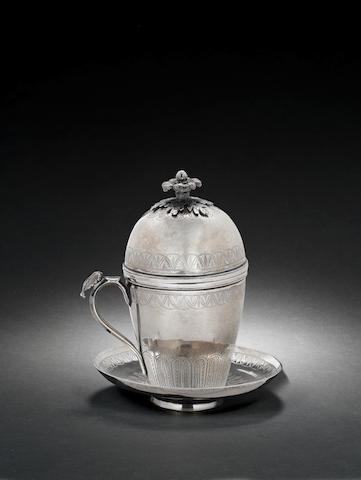 An Ottoman engraved silver sahlep Cup Turkey, 19th Century(3)