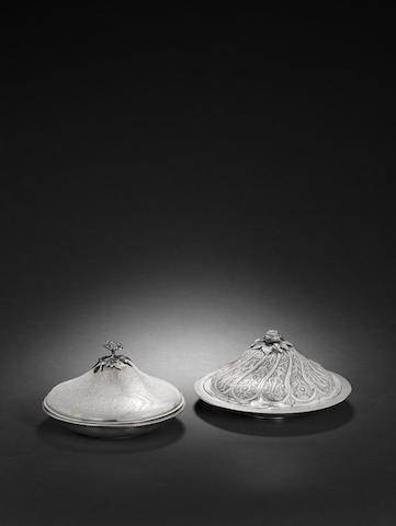 Two Ottoman engraved silver covered Bowls Turkey, 19th Century(2)