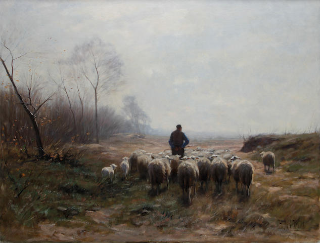 Herman Johannes van der Weele (Dutch, 1852-1930) A shepherd with his flock