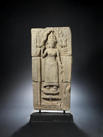 A Khmer Uma relief in three sections