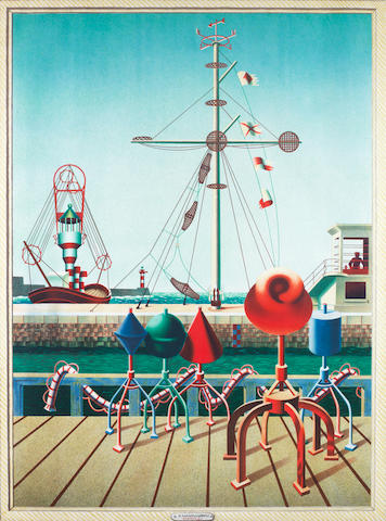 Edward Wadsworth (British, 1889-1949) Signals  Lithograph printed in colours, 1942, on thin wove paper, printed at the Baynard Press, published by the Council for the Encouragement of Music and the Arts, 1013mm x 760mm (39 7/8 x 29 7/8in)(SH)