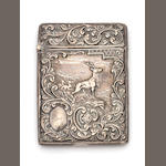A Victorian silver card case embossed with a stag, together with three others (4)