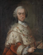 Georg Engelhardt Schröder (Stockholm 1684-1750) Portrait of Karl Theodor von der Pfalz, half-length, in an ermine mantel wearing the Chain and Star of the Order of Saint Hubertus; and Portrait of his wife, Elisabeth Augusta of Sulzbach, (2)