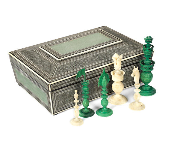 An Indian Export ivory chess set, Vizagapatam, circa 1820,