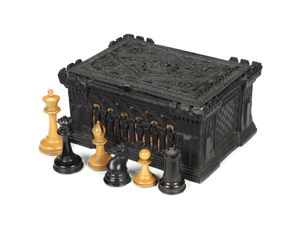 A Staunton weighted boxwood and ebony chess set, Jaques London, circa 1860-70,