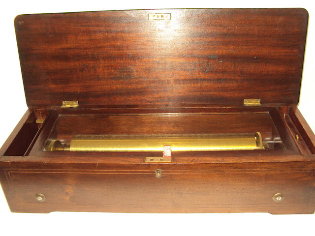 An inlaid mahogany musical box