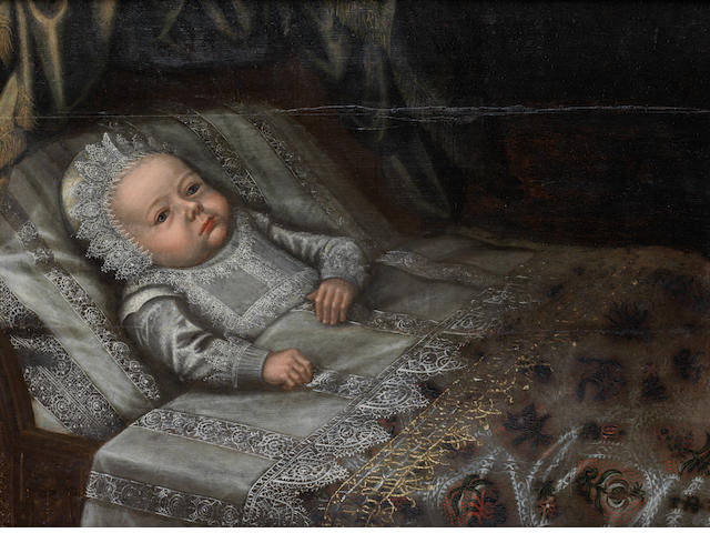Anglo Dutch School, 17th Century Portrait of a baby, in lace costume lying upon a bed CHECK