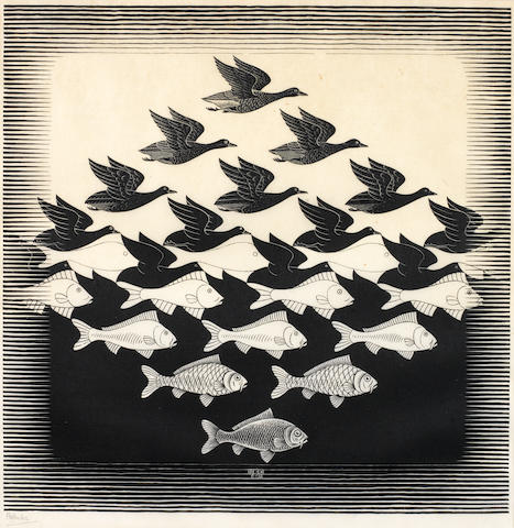 Maurits Cornelis Escher (Dutch, 1898-1972) Sky and Water I Woodcut, 1938, on wove, signed in pencil, 435 x 439mm (17 1/8 x 17 1/4in)(B)