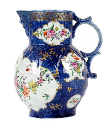 A rare Worcester cabbage-leaf moulded jug, circa 1762