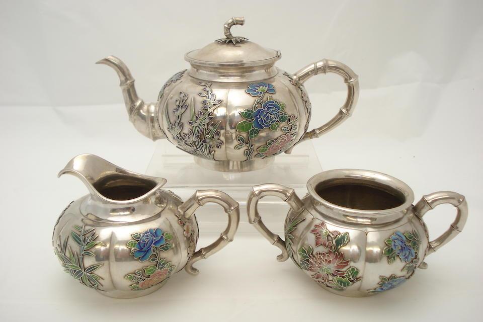 An enamelled white metal (Chinese silver) tea service Circa 1900