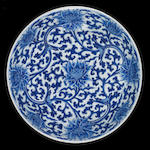 A large blue and white 'lotus' dish Kangxi six-character mark and of the period [CHECK]