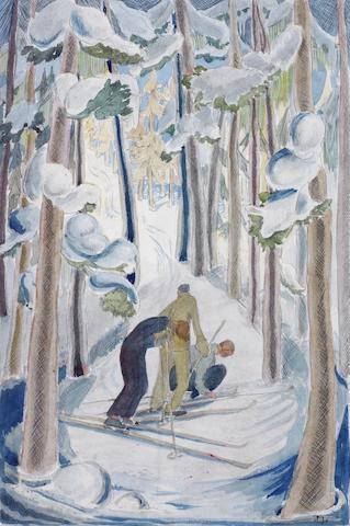Julia Mavrogordato (British, 1903-1992) Skiers Watercolour, on board, 375 x 253mm (14 3/4 x 10in(I) unframed