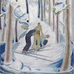 Julia Mavrogordato (British, 1903-1992) Skiers Watercolour, on board, 375 x 253mm (14 3/4 x 10in(I) unframed
