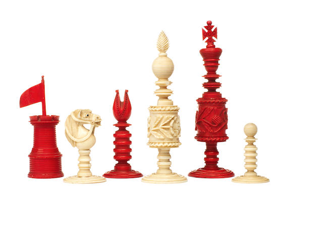 "An unusual ""British Isles"" ivory chess set, English, circa 1860,"