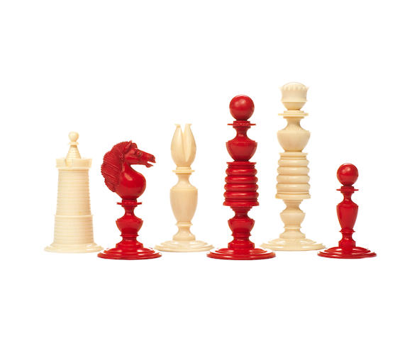 An ivory chess set, English, early/mid 19th century,