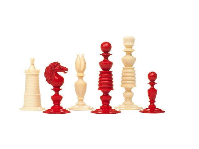 An ivory chess set, English, early to mid 19th century,
