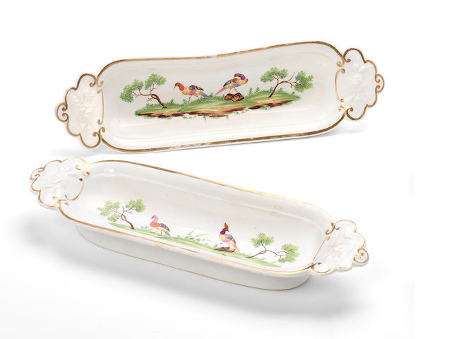 A pair of Rockingham pen trays, circa 1830-35