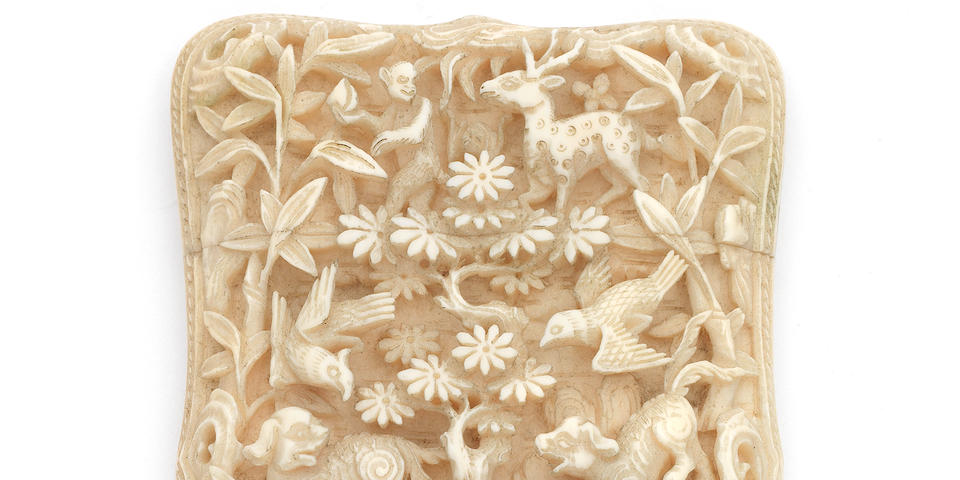 A mid 19th century Chinese carved ivory card case, circa 1860,