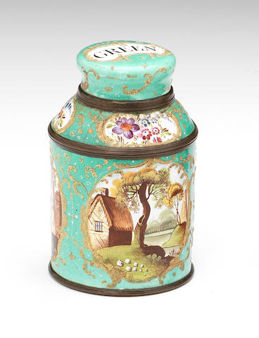 A South Staffordshire enamel tea canister and cover, circa 1770