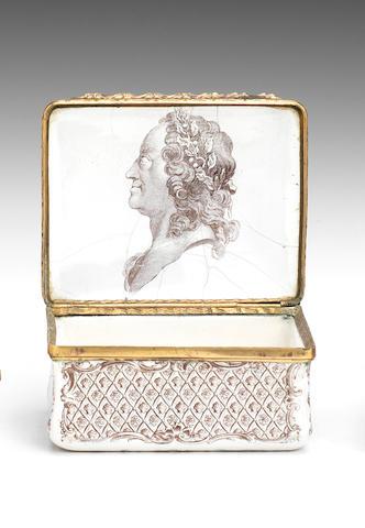 A Battersea enamel snuff box, circa 1755