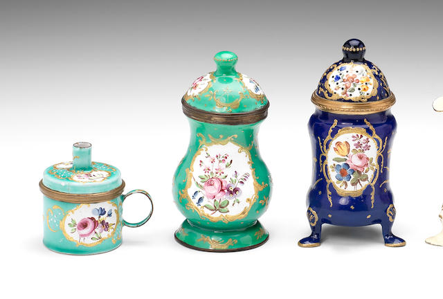 A South Staffordshire enamel wax jack, a mustard pot and cover and a sifter and cover, circa 1770
