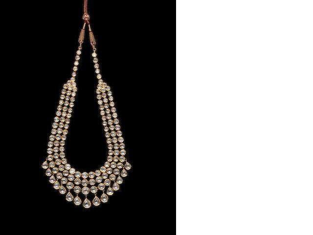 A diamond-set enamelled gold Necklace India, Jaipur, 20th century