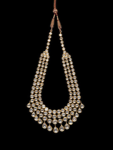A diamond-set enamelled gold Necklace India, Jaipur, 20th century