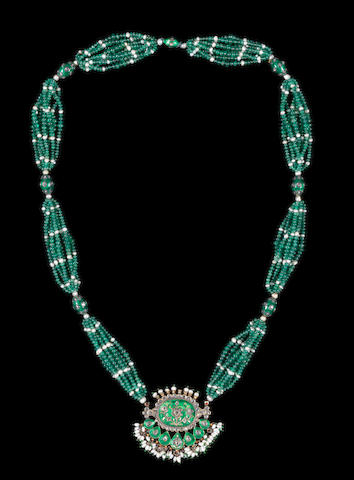A diamond-set enamelled gold necklace India, 19th Century