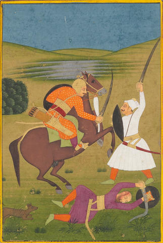 Nat Ragini: a horseman attacked by footsoldiers Mughal, late 18th Century