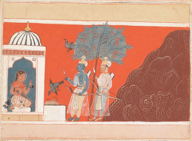 A scene from the Ramayana:.... Malwa, late 16th Century