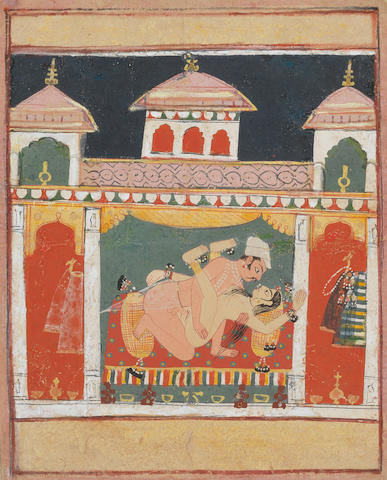 A couple in an erotic embrace in a palace chamber Malwa, late 16th Century
