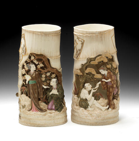 An impressive pair of Royal Worcester Japanesque vases, dated 1880