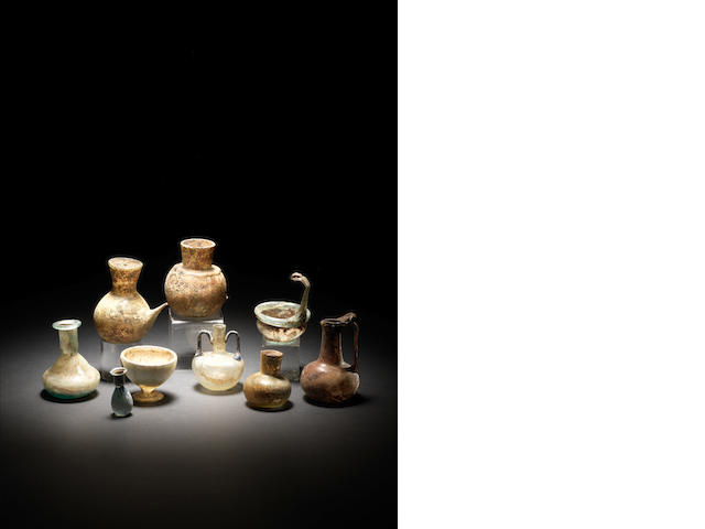 A group of miniature glass vessels 9
