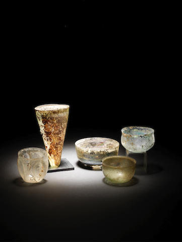 Five Roman glass bowls and beakers 5