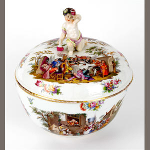 A large Berlin style punch bowl and cover, late 19th century
