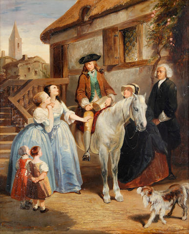 Tony Johannot (French, 1803-1852) The departure; Bad news, a pair each 38 x 46cm (14 15/16 x 18 1/8in), (2).