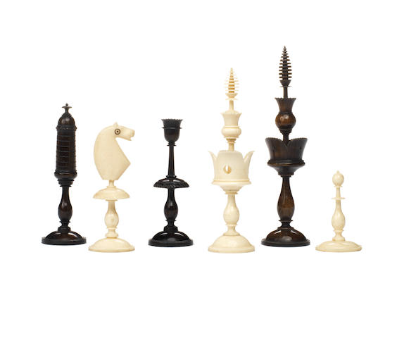 "A ""Selenus Pattern"" polished bone chess set, German, circa 1830,"