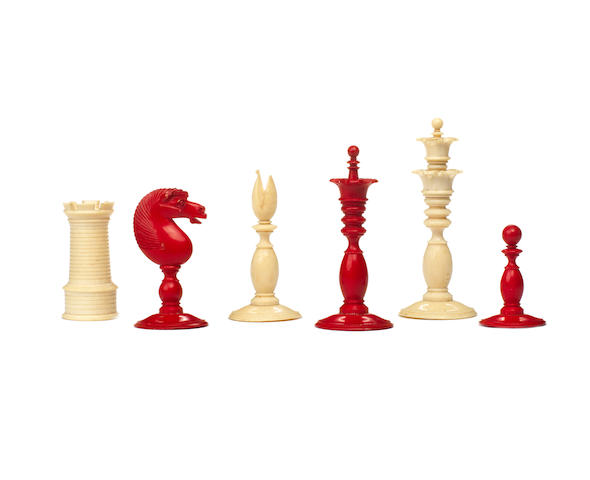 "A ""Calvert style"" ivory chess set, English, circa 1860,"