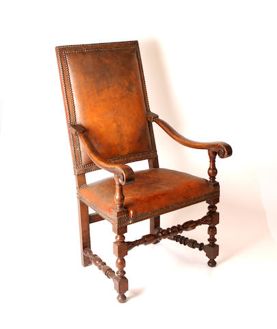 A 19th century Spanish walnut open armchair