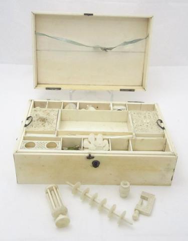 An ivory work box 19th century