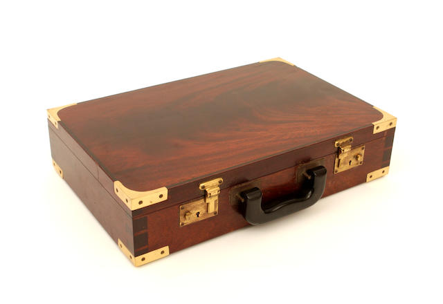 A modern mahogany and brass bound briefcaseBy Andrew Crawford, London