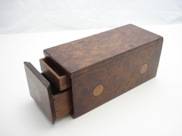 An elm and fruitwood inlaid puzzle box