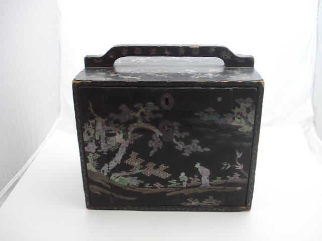 Two lacquer boxes inlaid with mother of pearl  Late 19th century