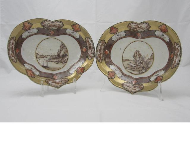 A pair of heart-shaped dishes Qianlong period