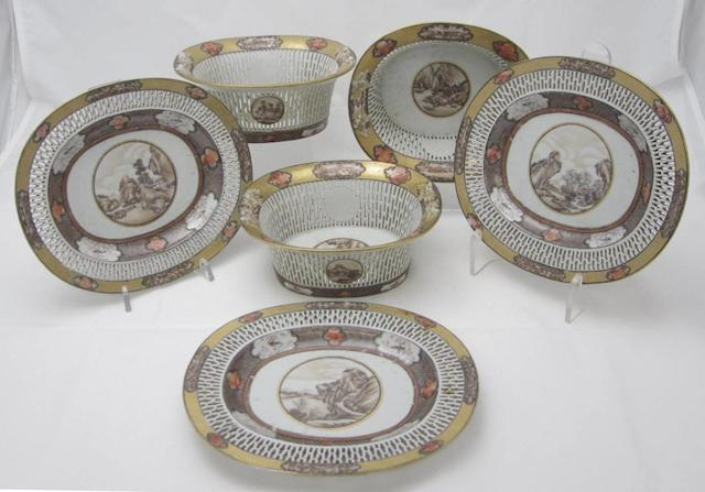 Three small baskets and stands  Qianlong period