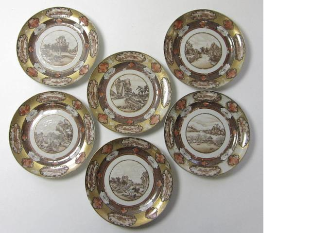 Six side plates  Qianlong period