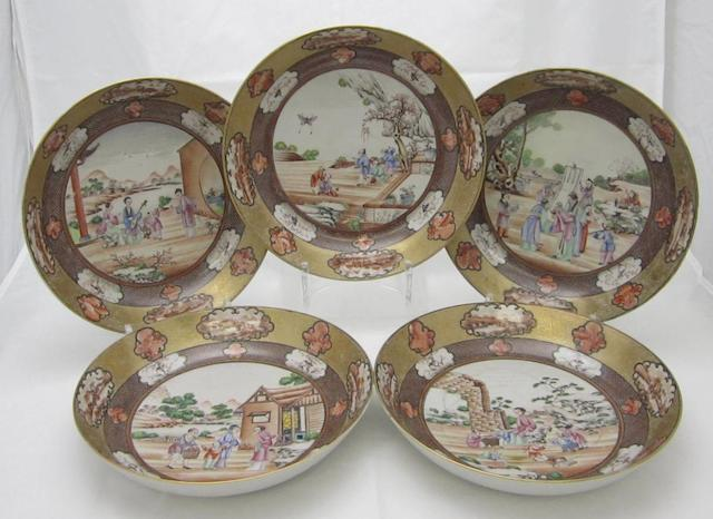 Five saucer dishes  Qianlong period