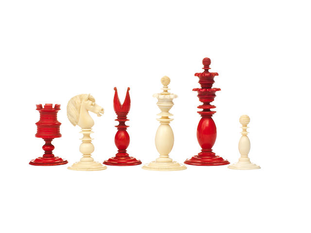 "A ""Calvert style"" ivory chess set, English, 19th century,"